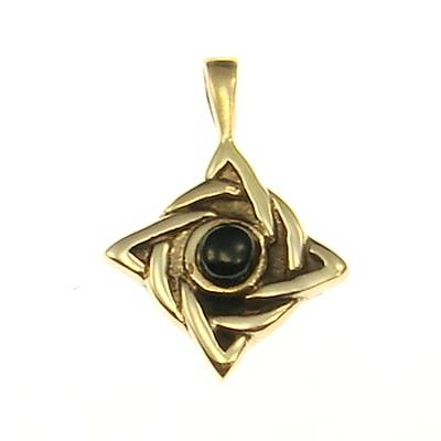 Bronze Pendant celtic knot with black stone
