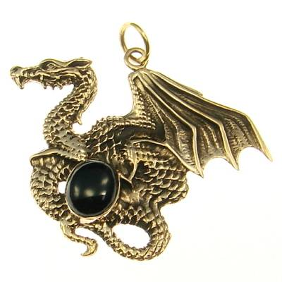 Bronze Pendant dragon with stone