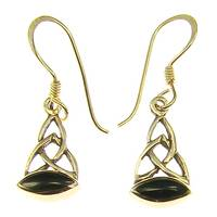 Bronze earring hook celtic with black stone