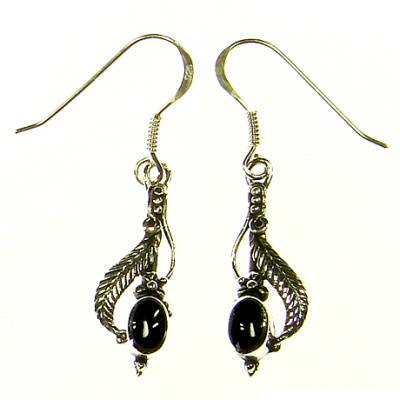 Leaf with black stone Silver Ear Hook (1 Pair)