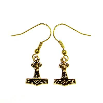 Bronze Earring Thorshammer with Ram Head small
