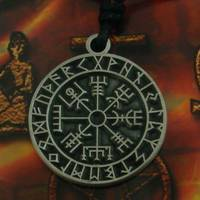 Pewter Pendant Viking compass in rune circle