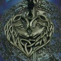 Pewter Pendant Celtic Wolfes