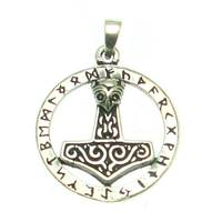 Silverpendant Thor´s Hammer Rune Circle