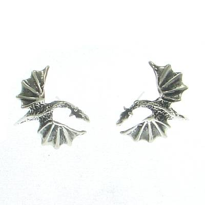 Silver Ear Stud Dragon