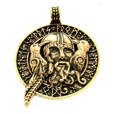 Bronze Pendant Odin with ravens