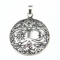 Silver Pendant Living Three Sun and Moon