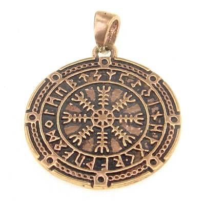 Bronze Pendant Viking Compass