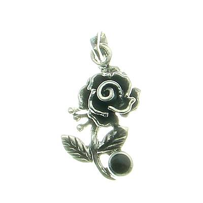 Rose Silver Pendant with Stone