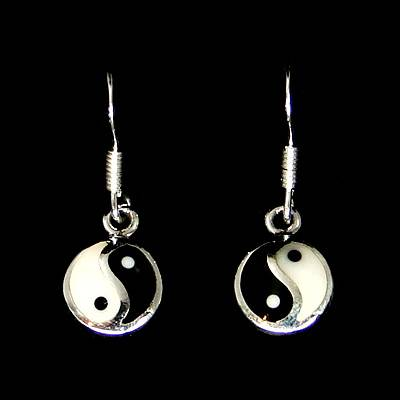 Yin Yang Silver Ear Hook (1 Pair)