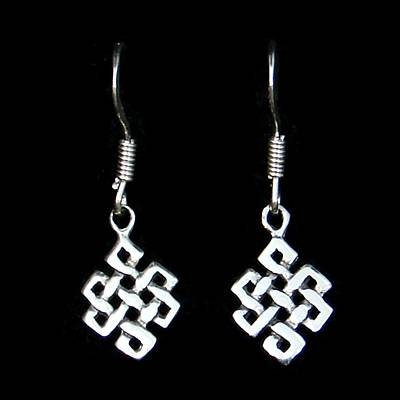 Endless Knot Silver Ear Hook (1 Pair)