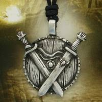 Shield and Swords Pewter Pendant