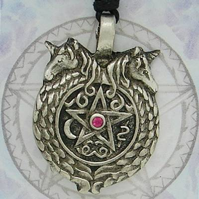 Unicorns Pentacle Pewter Pendant