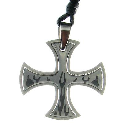 Stainless Steel Pendant Cross with Flames