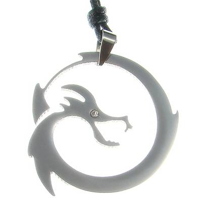 Stainless Steel Pendant Dragon with Stone