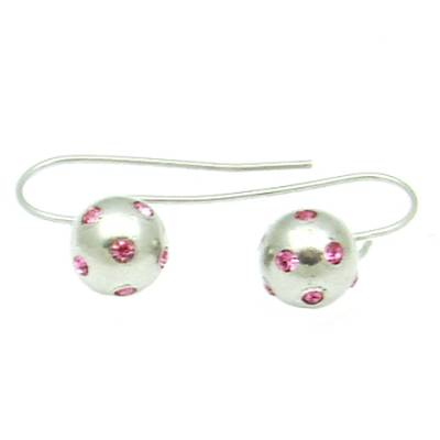 Stainless Stell Earring Hook Ball with many pink Stones