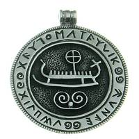 Silver Pendant Viking Ship with Runes